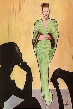 Fashion illustration by René Gruau, 1946, Jacques Fath Evening Gown.