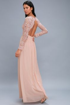 a4f72dda06 Awaken My Love Blush Pink Long Sleeve Lace Maxi Dress
