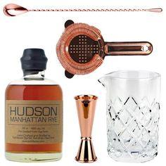 Copper Old Fashioned Bar Kit with Hudson Manhattan Rye Whiskey