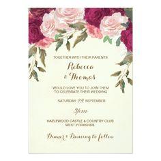 Floral wedding invitation ivory pink burgundy