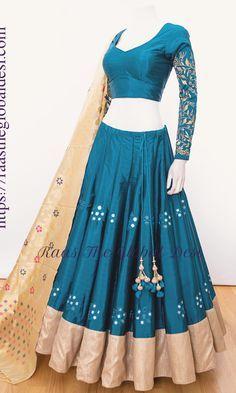 lehenga choli online – Raas The Global Desi Indian Gowns Dresses, Indian Fashion Dresses, Dress Indian Style, Indian Designer Outfits, Indian Outfits, Outfit Designer, Indian Clothes, Indian Wear, Half Saree Designs