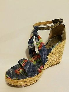 bdc84f5717 NEW Bucco Capensis Chambray Espadrille Wedges Sandles Sz 9 Blue Floral  Flowers Fashion and Style 2016