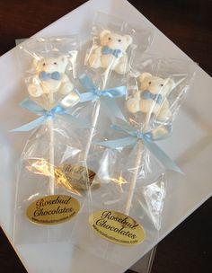 Chocolate Teddy Bear with Bow Tie Lollipop... Baby Shower Candy Favors.... www.rosebudchocolates.com