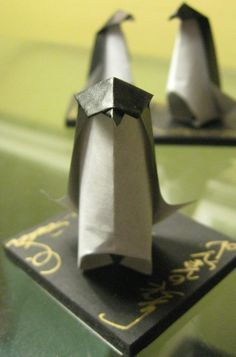 A Set of  Three Origami Penguin Friends by origamichristmastree, $12.00