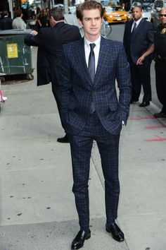 Andrew Garfield in a  Gucci Spring Summer 2012 two button peak lapel stafford check Marseille suit in navy: www.gucci.com