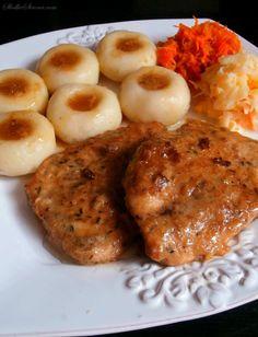 Pork cutlets (cutlets of pork ham) and the Silesian dumplings - Recipe - Sweet Home Dumpling Recipe, Dumplings, Polish Recipes, Polish Food, Pork Ham, Pork Cutlets, Sweet Home, Treats, Chicken