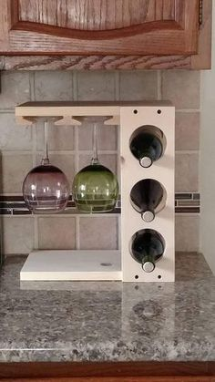 woodworking - Wine rack with Stemware holder Countertop model Wood Pine or Dark Stain Espresso Bottle Rack, Wine Bottle Holders, Bottle Opener, Wood Wine Holder, Cork Holder, Glass Holders, Wood Projects, Woodworking Projects, Woodworking Beginner