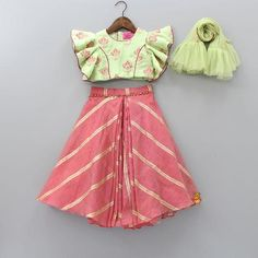Pre Order: Green Top And Ghagra With Frilly Dupatta Frock Design, Baby Dress Design, Baby Girl Party Dresses, Dresses Kids Girl, Kids Outfits, Birthday Dresses, Kids Frocks Design, Baby Frocks Designs, Kids Dress Wear