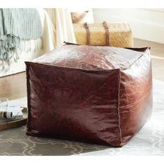 Custom Leather Cube Floor Pillow Pouf Red 100% Polyester For Home Chair