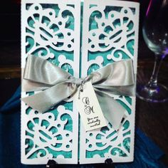 LASER CUT WEDDING INVITATION TEAL & SILVER Early Reservation Discounted Rate P 150.00 Regular Rate P 200.00 Minimum of 20 pieces SET includes (1) Main Invitation (1) Principal Sponsors (1) Secondary Sponsors (1) RSVP (1) MAP FREE SHIPPING WITHIN METRO MANILA