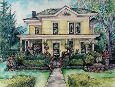 5x7 watercolor painting of our Greenmead house- our first home together! House Portrait- Original Custom Painting of Your Home in Pen/Ink and Watercolor