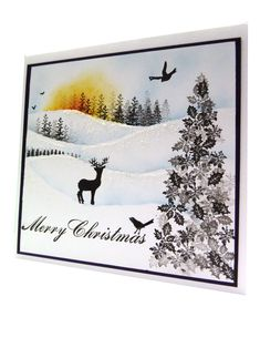Tutorial & Ideas Main Page: Merry Christmas Card Dyi Christmas Cards, Christmas Gift Themes, Cardio Cards, Paint Cards, Card Io, Stamping Up Cards, Winter Cards, Flower Cards, Making Ideas