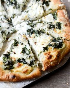 marinated kale and whipped ricotta pizza.