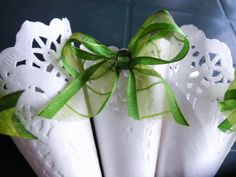 White Lace Paper Wedding Cones with Green Organza Bow by IlasPaper, €27.50