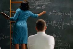 """Backs of Taraji P. Henson and Kevin Kostner in the movie """"Hidden Figures"""". The important work done by NASA Langley Research Center's Katherine Johnson, Mary Jackson and Dorothy Vaughan are explored in the new Century Fox film. It premieres on January Katherine Johnson, Great Minds Think Alike, Hidden Figures, Film Aesthetic, Fashion Tv, Movie Costumes, Great Women, Film Serie, African American Women"""