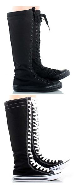Womens Canvas Sneaker Punk Flat Tall Lace Up Knee High Boot Skater Shoe  #WB #FashionKneeHigh
