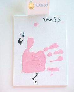 Look at this adorable party activity!! Handprint flamingos! See the entire #flamingo birthday party on #KarasPartyIdeas.com today (link in bio for all photos + party details)! Styled by @tanias_design_studio!