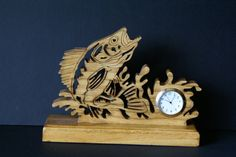 Walleye Fishing Fretwork Clock Scroll Saw Cut