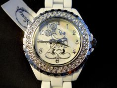 Disney Mickey Watch Rhinestone  White Body Mother Of Pearl New + Box #Disney #CartoonIdol