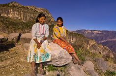Tarahumara Indians of Mexico | Tarahumara Indian sisters, Urique Canyon, the deepest canyon in the ...