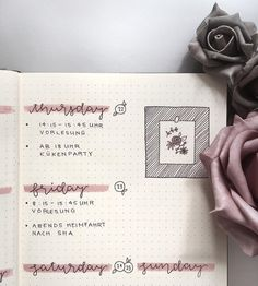 Bullet journal weekly layout, cursive daily headers, flower drawing. | @butfirstbullet