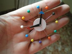 "Mid century modern clock made using ball-headed pins | This might be a little small for 18"" / American Girl dolls, but it's so cute!"