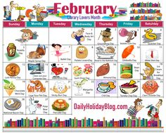Monthly Holidays Calendars to Upload! Feb Calendar, Special Day Calendar, Holiday Calendar, Calendar Stickers, February Holidays, Daily Holidays, February Days, Unusual Holidays, Weird Holidays
