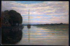 Piet Mondrian River view with a boat Sun 1907 Impressionism Piet Mondrian, Dutch Artists, Great Artists, Famous Artists, Sun Painting, Dutch Painters, Art Moderne, Oeuvre D'art, New Art