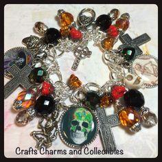 Day of the Dead,altered art charm bracelet, handmade, #ooak, #bostoncharm, ebsq by Bostoncharm on Etsy