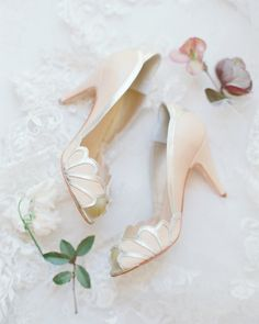 9a722962777 Sea shell wedding peep toe pumps  Photography  Jessica Gold - www.