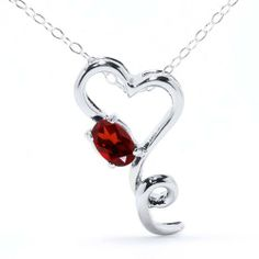 """0.80 Ct Oval Red Garnet .925 Sterling Silver Heart Shape Pendant W/18"""" Chain Gem Stone King. $19.99. This Item Contains 100% Natural Stones. This item is proudly custom made in the USA"""