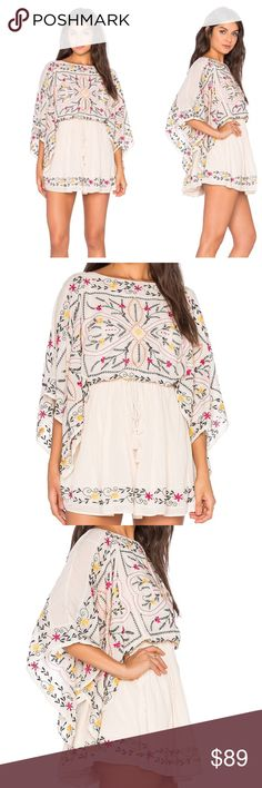 🎀 New Free People Listing 🎀 Free People Frida Dress - Embroidery brings bold, feminine detail to this airy Free People dress. A drawstring cinches the waist, and draped sleeves create a dramatic finish. Wide neckline. Lined. Free People Dresses