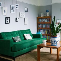 Green sofa in living room | Lisa Levis Real Home | Interior Editors Choice | redonline.co.uk