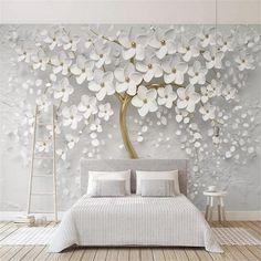 Custom Self-Adhesive Waterproof Mural Wallpaper 3D Stereo White Flower Sticker Living Room TV Bedroo