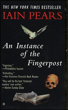 An Instance of the Fingerpost by Iain Pears. A murder in 17th-century Oxford is related from the contradictory points of view of four of the characters, all of them unreliable narrators. The setting of the novel is 1663, just after the restoration of the monarchy following the English Civil War, when the authority of King Charles II is not yet settled, and conspiracies abound. Wonderful!