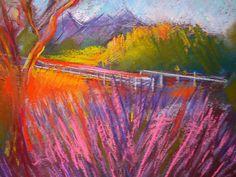Ojai Lavender Field by Joan Skogsberg Sanders: Pastel Painting available at www.artfulhome.com