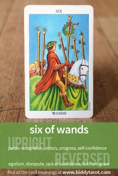 Six of Wands #tarotcardmeaning learn more athttp://www.biddytarot.com/tarot-card-meanings/minor-arcana/suit-of-wands/six-of-wands/