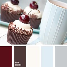 Black forest cupcakes by RuthBlack. Cupcakes decorated with black cherries and chocolate shavings Room Paint Colors, Paint Colors For Living Room, Bedroom Colors, Gray Bedroom, Master Bedroom, Red Colour Palette, Colour Schemes, Color Combinations, Black Forest Cupcakes