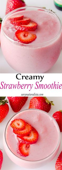 Bursting with lots of flavor and only 111 calories this creamy strawberry smoothie is the perfect day time or night time snack