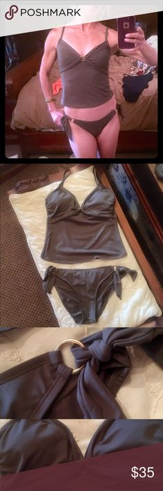 Beautiful Perry Ellis tan tankini!  🐬🐠Small Beautiful Perry Ellis tan tankini!  Gorgeous brass accents to top and sides of bottoms! Size small....excellent used condition!  No rips, snags, or stains! 🐠🌞 Perry Ellis Swim Bikinis