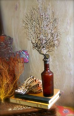 Vintage Sea Fan Shell Bottle Amber Glass With Vintage Crystal Coastal Decor Solder Art