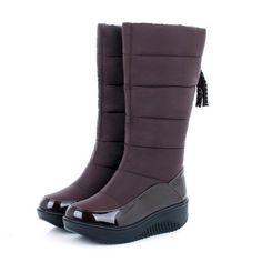 新しい到着女性雪のブーツを保つ暖かい毛皮の靴厚いフラットかかとプラットフォームシューズカジュアルドレススリップオンソフト秋冬ブーツ