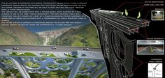 A bridge in Italy with wind & solar power, green houses, & a promenade.  Won 2nd place in an international contest.