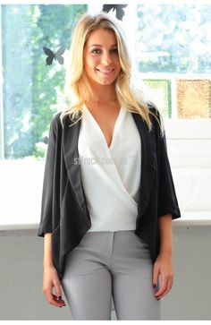 Kasumi Jacket in Black $59.90  Styling is simple with the Kasumi Lightweight Blazer!  This boyfriend style blazer retains its femininity in a washed chiffon style fabric and lightly cuffed sleeves.  With a flat lapel and a panel through the base giving a flattering shape over the bottom this spring blazer is perfect for your work or casual wardrobe.