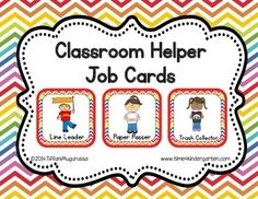 Classroom Helper and Job Cards Rainbow Chevron