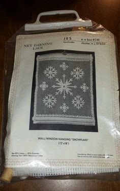 Net Darning Lace Kit JES Handcrafts. Wall/window Hanging 12x18 snowflake new in Crafts | eBay