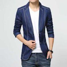 2016 Men's Denim Blazer Fashion Single Breasted Dress Blazer Casual Cotton Suit Jacket Plus Size Slim Fit Blazer Masculino H6714