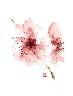 Cherry blossom art print watercolor painting japanese flowers large poster by Joanna Szmerdt
