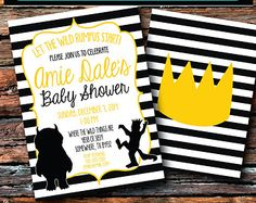 5x7 Chevron Where the Wild Things Are Baby Shower Invitation by