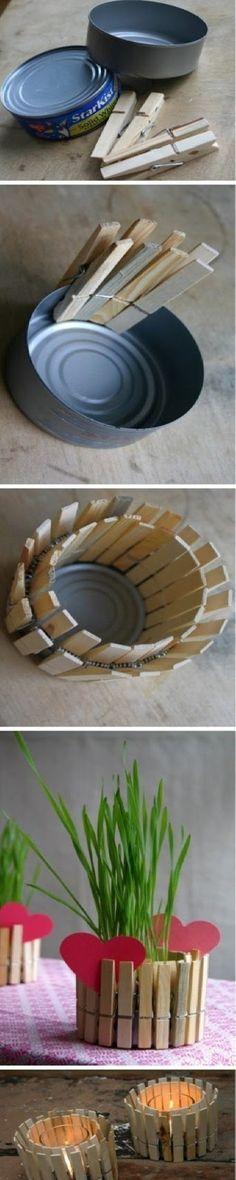 DIY Clothespin Vase | diy craft TUTORIALS